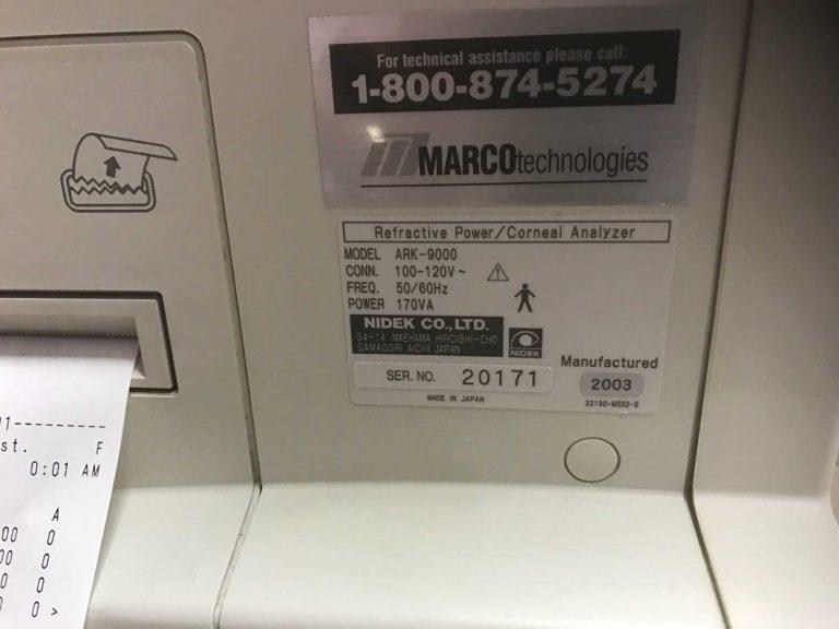 Marco Nidek ARK 9000 OPD SCAN REFRACTIVE POWER
